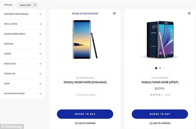 4370A94100000578 0 image a 31 1503338407322 Samsung Accidentally Reveals Galaxy Note 8 On Own Website