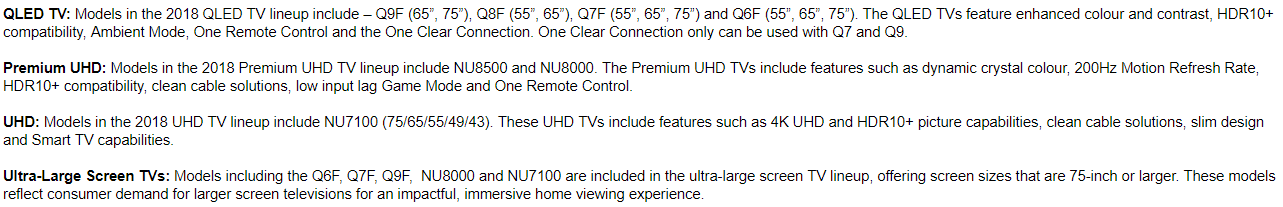 Samsung 2018 TV Screen Details Samsung Release 2018 TVs   One Clear Cable To Ambient Mode
