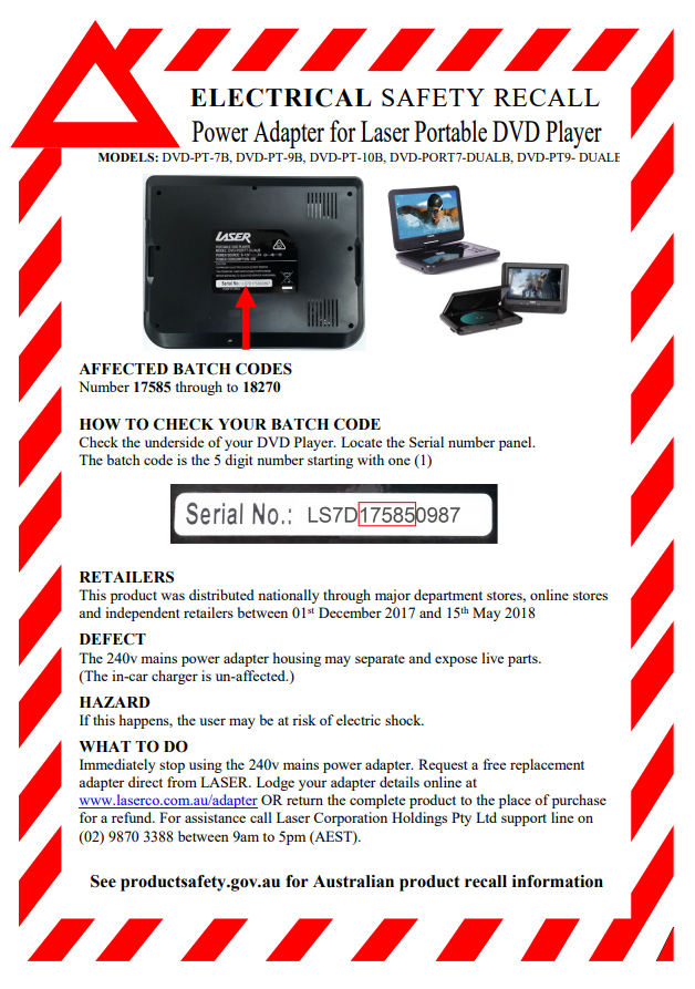 Product Saferty Laser To Refund Portable DVD Players Over Electric Shock Risk