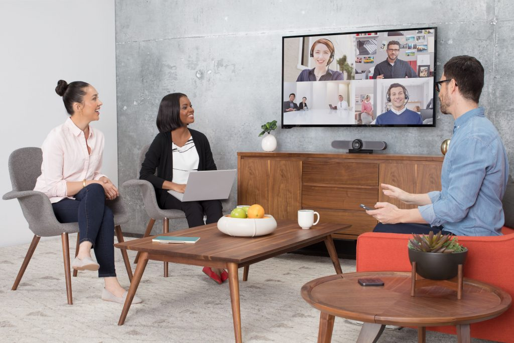 High Resolution MEETUP Lifestyle Huddle Room Three Quarter Edit REVIEW: Logitech Video Conference Kit, Big Sound 4K Vision