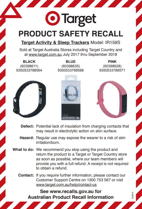 Target Product Safety Australia Target Recalls Sleep Trackers Over Burn Risk