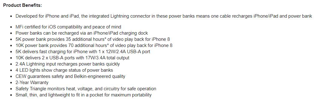 Belkin Power Bank Belkin Debut Made For iPhone Lightning Power Bank