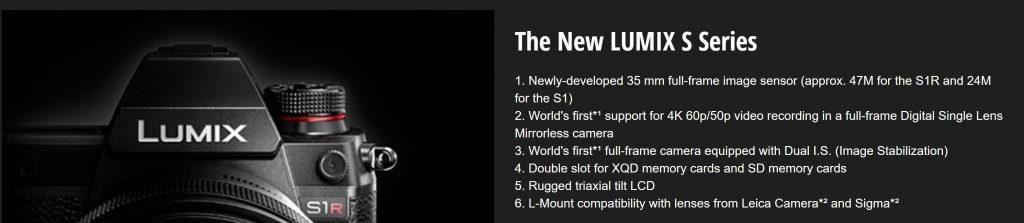 Lumix Panasonic S 1024x223 Panasonic Launch Full Frame Lumix S1 & S1R