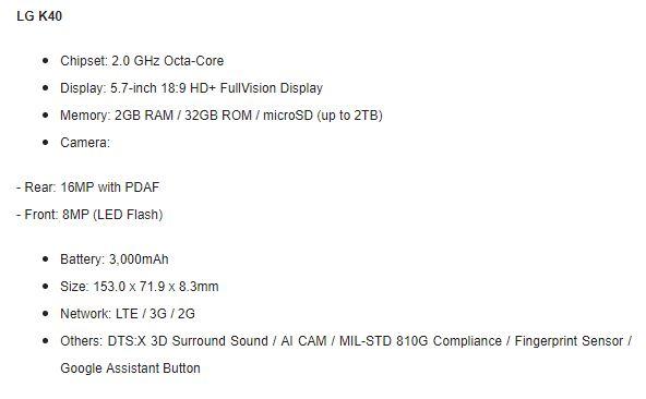 LG K40 specs LG Announce Mid Range Phones With AI Cam