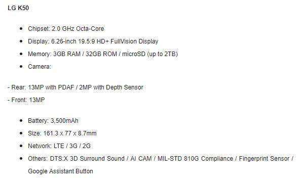 LG K50 specs LG Announce Mid Range Phones With AI Cam