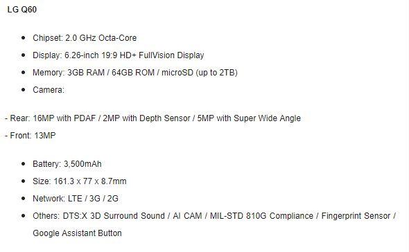 LG Q60 specs LG Announce Mid Range Phones With AI Cam