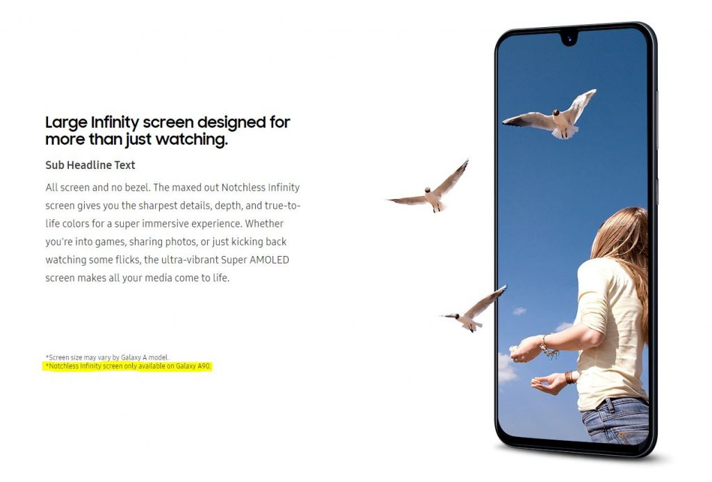 """galaxy a90 1024x693 Samsung Site Confirms Galaxy A90 """"Notchless Infinity Screen"""""""