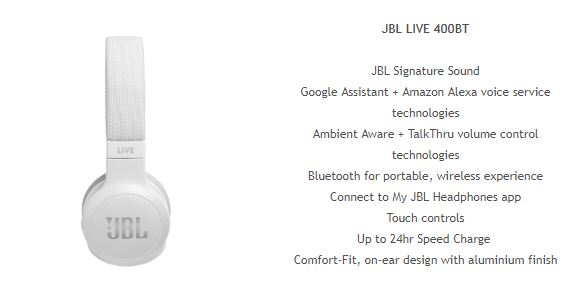 JBL Live 400 JBL Launch 'LIVE' Smart Headphones In Oz