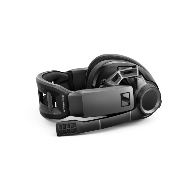 GSP 670 Headset Isofront laying RGB red Sennheiser Intro First Wireless Gaming Set