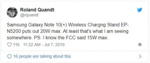 Quandt tweet 300x127 Galaxy Note 10 Wireless Charger May Support 20W Speeds