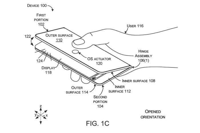 opened orientation Microsoft Patents Foldable Device