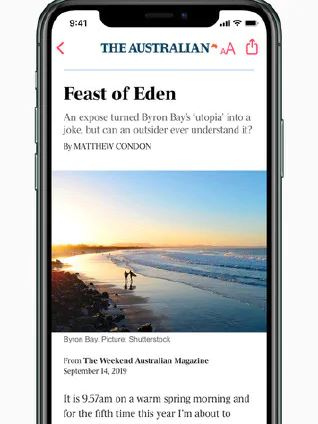 News on smartphone Apple News+ Launch With Oz & International Publishers