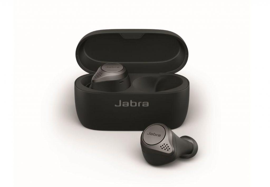 Jabra Elite 75t Titanium Black cradle   earbud front LB Jabra Elite 75t Wireless Buds Now In Oz