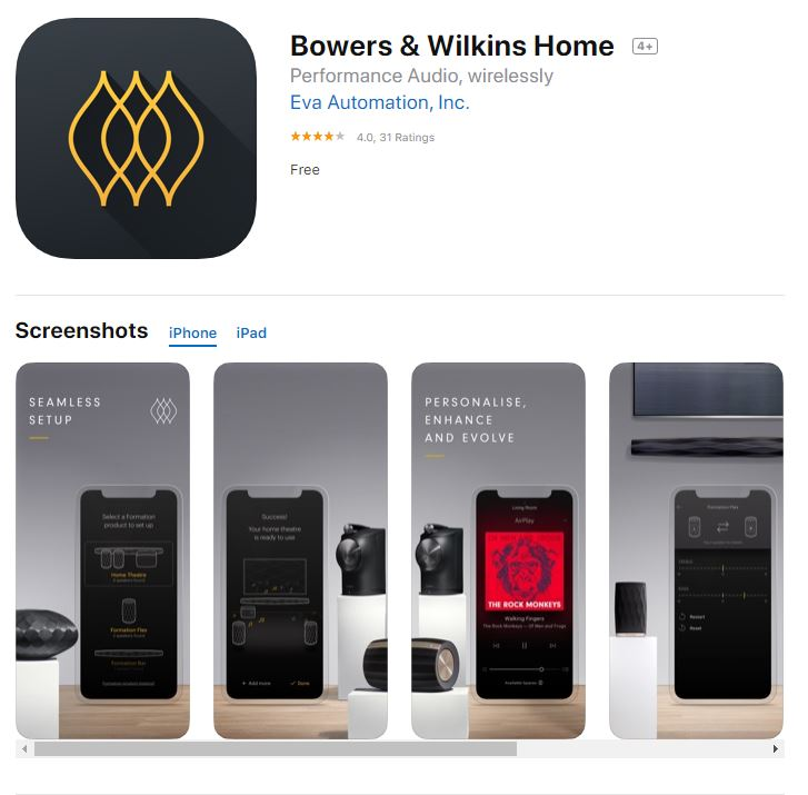 BW Formation App Bowers & Wilkins Update Smart Home App