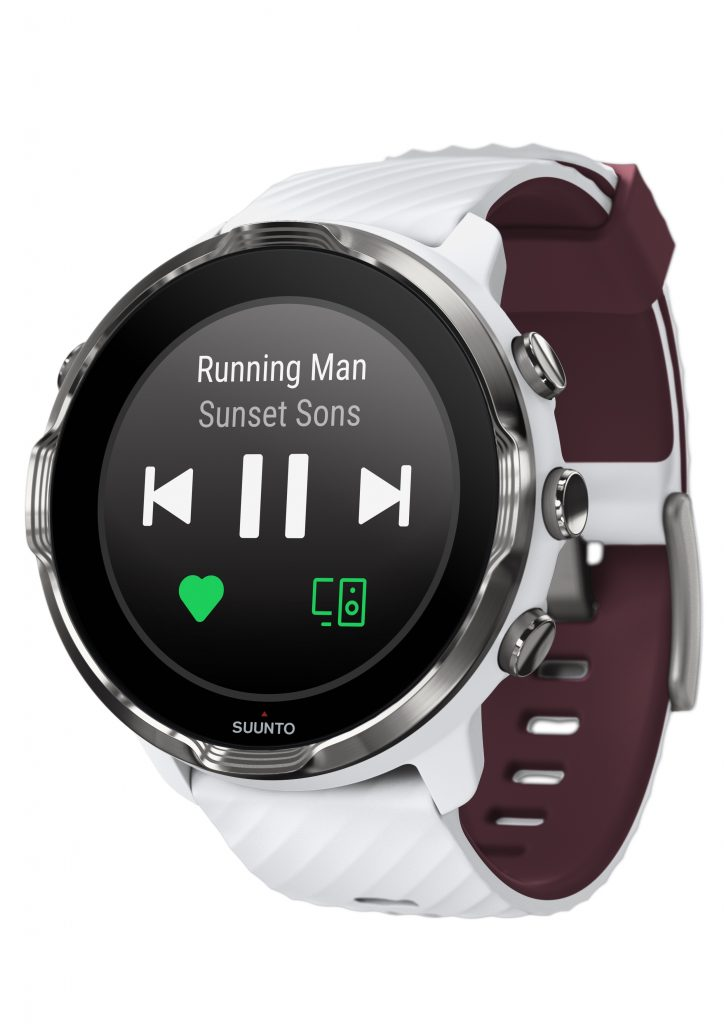 Suunto7 white burgundy frontperspective music controls Suunto Tackles Tough OZ Smartwatch market