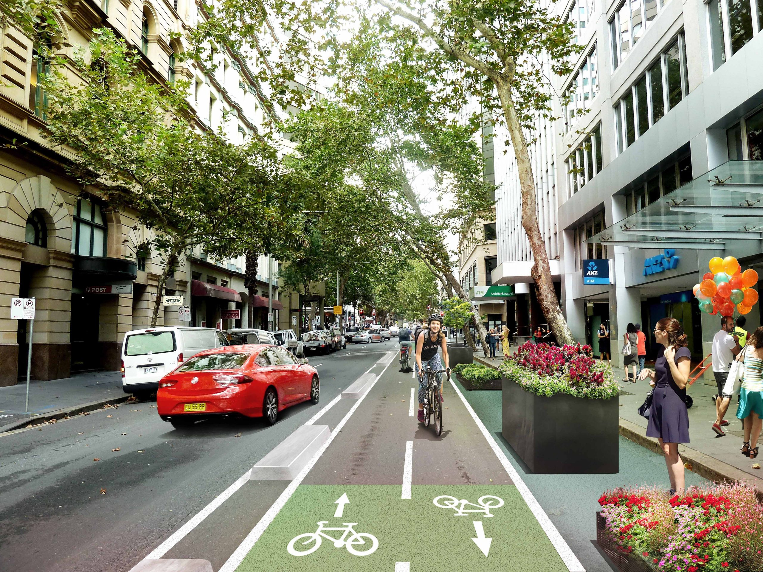 New Pitt Street cycleway artist impression scaled Could E Bikes Be The Safest Way To Get People Back To Work?