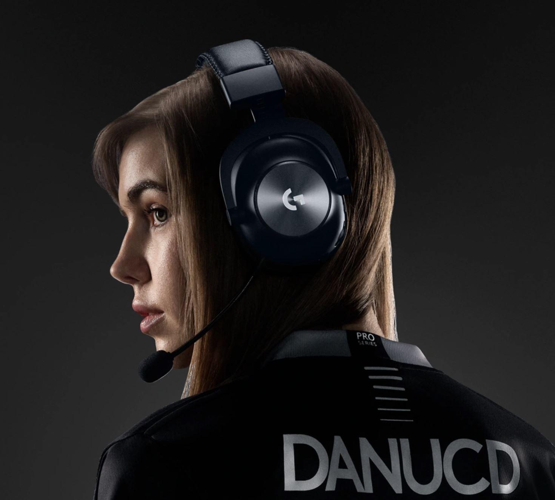 Gamer girl wearing Logitech G PRO X wireless gaming headset Logitech G Unveil PRO X Wireless Gaming Headset